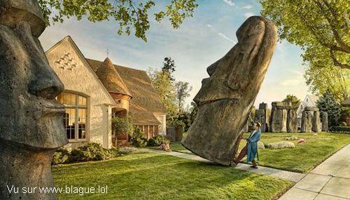 blague-divers-statue-ile-de-paque-decoration-maison